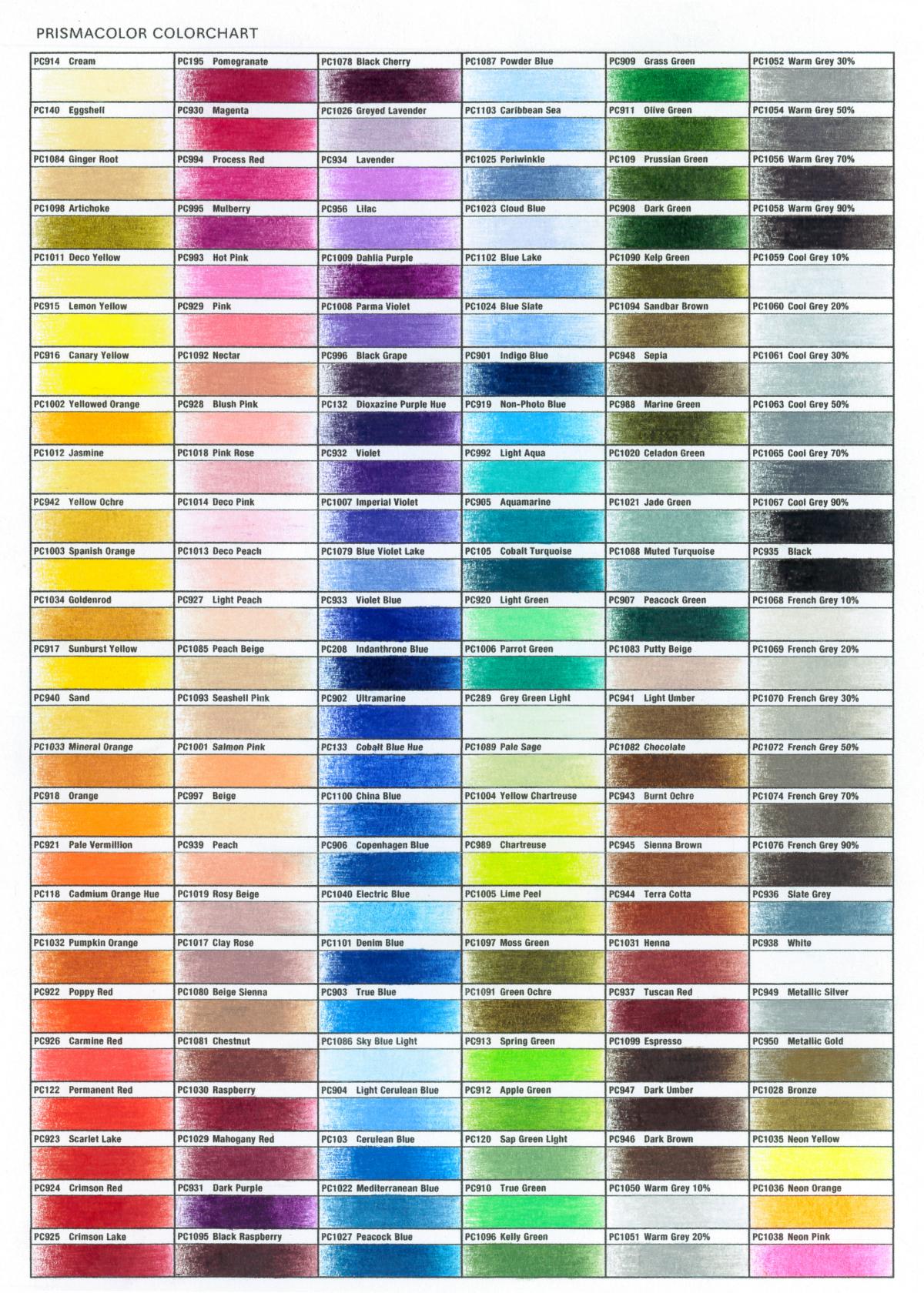 プリズマカラー:カラーチャート
