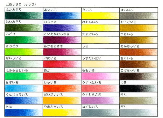 三菱 880 カラーチャート